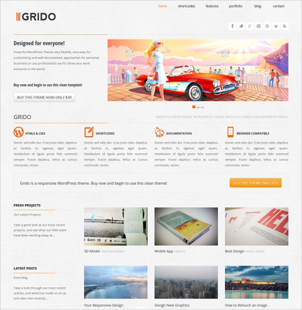Design Responsive WordPress Website Theme $39