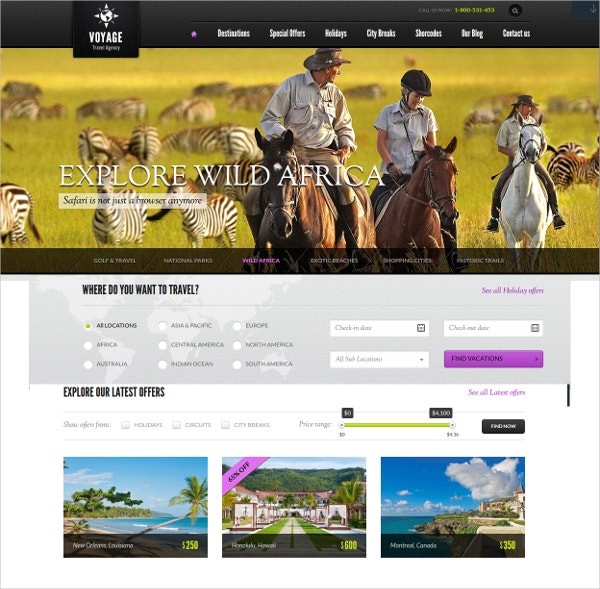 Premium Travel WordPress Website Theme $95