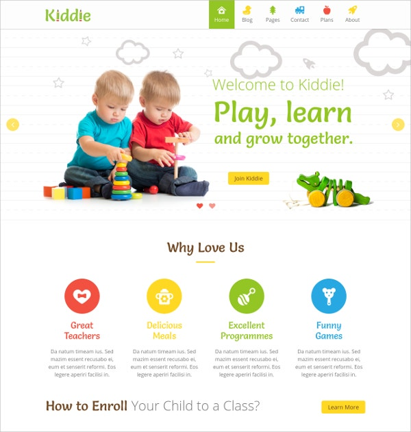Kids Play School WordPress Theme $49