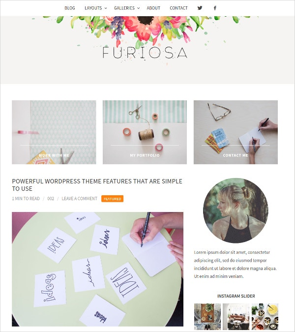 Fashion Blog WordPress Website Theme $24