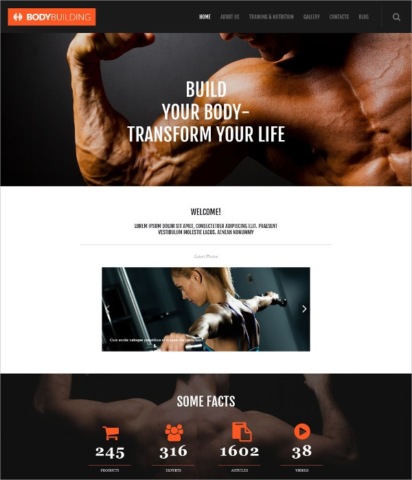 Body Build Responsive WordPress Theme $75