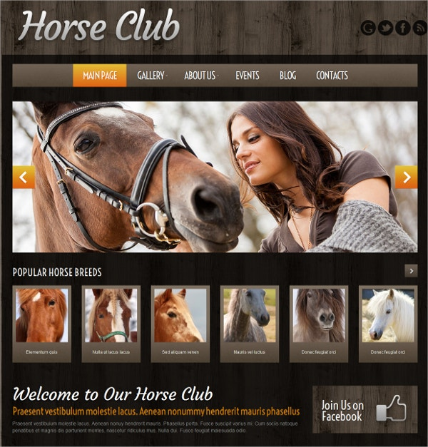 Horse Club WordPress Theme $75
