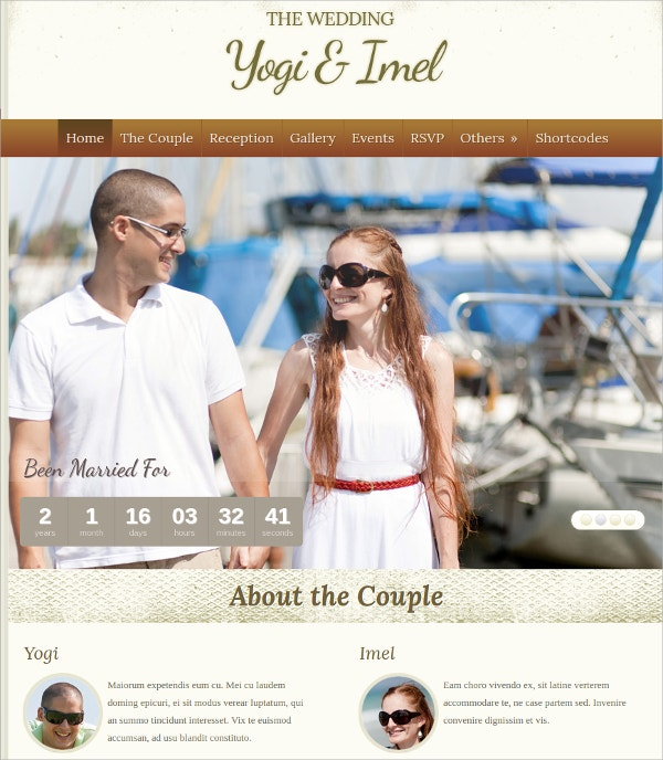 Elegant Wedding Gallery WordPress Theme $44