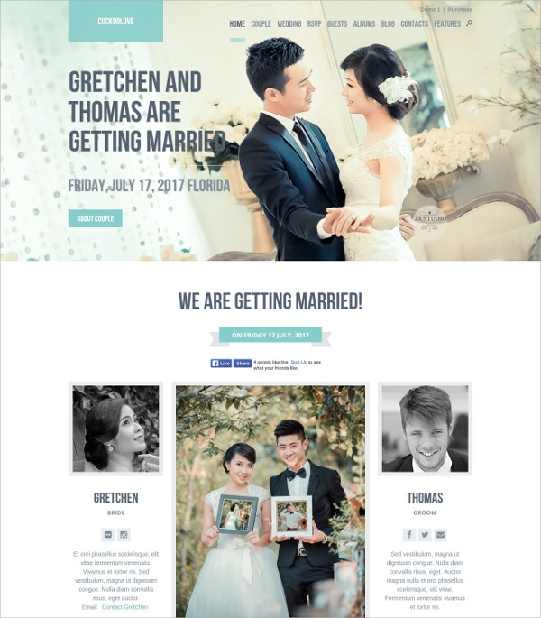 Wedding Celebrations WordPress Theme $60