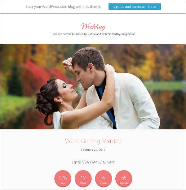 Memorable Moments Wedding WordPress Theme $75