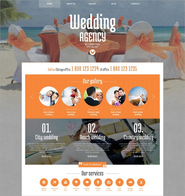 Wedding Planner & Gallery WordPress Theme $75
