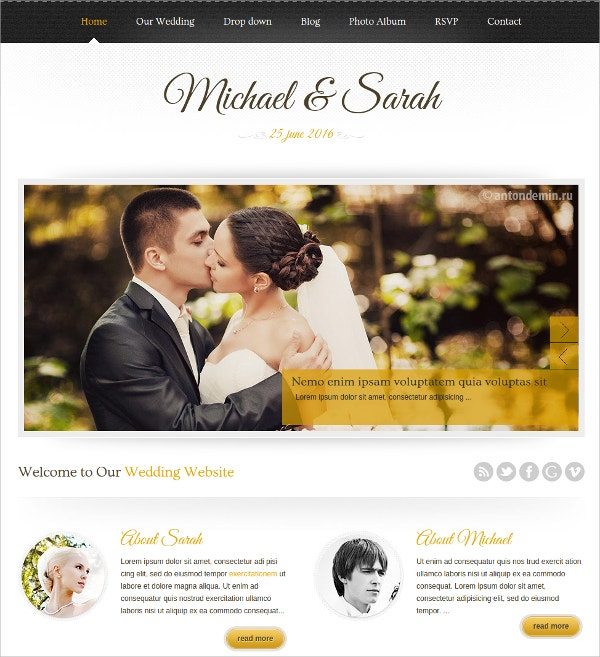 Responsive Wedding Planner & Events WordPress Theme $44