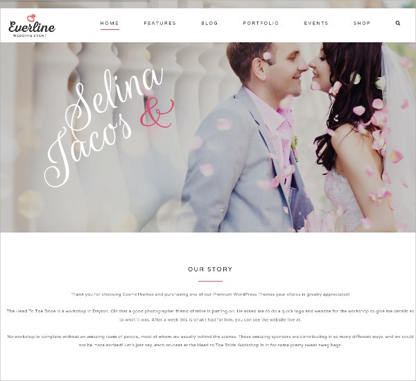 Wedding & Love WordPress Theme $58