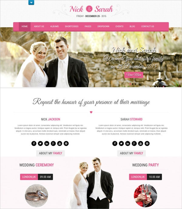 Stylish WordPress Wedding Theme $39