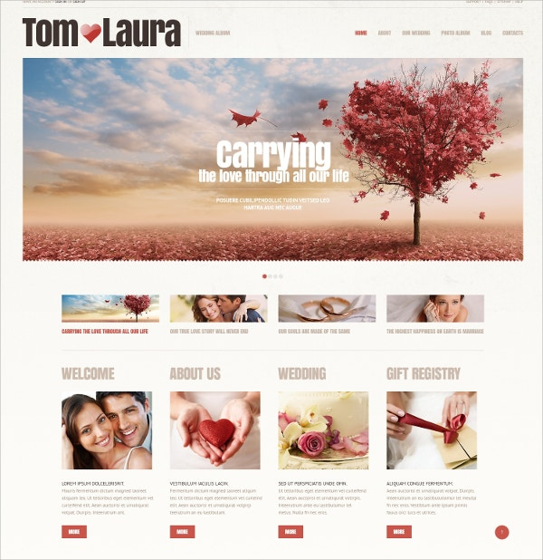 Beautiful Wedding Album WordPress Theme $75