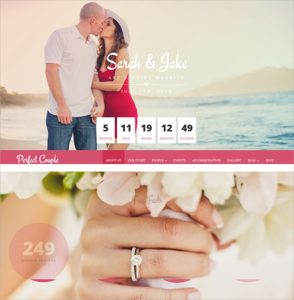 Perfect Couple Wedding WordPress Theme $44