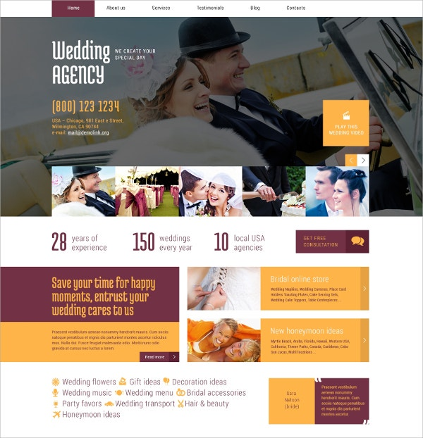 Premium Wedding Planner WordPress Theme $75