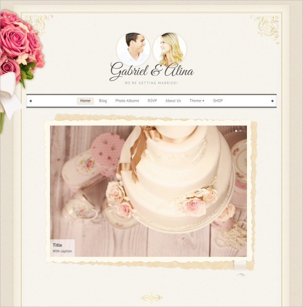 Elegant Wedding WordPress Theme $39