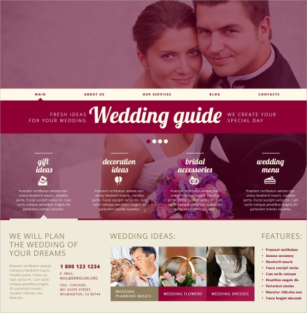 Responsive Wedding Guide WordPress Theme $75