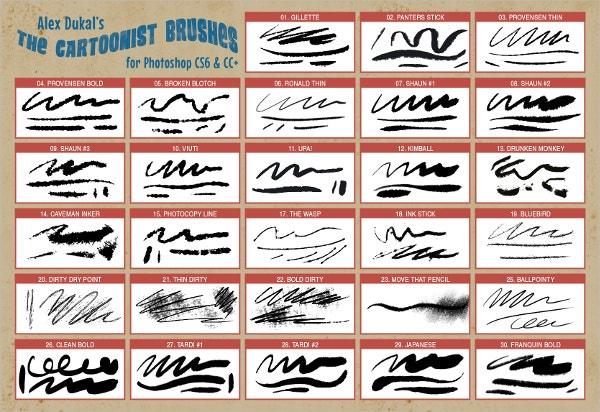 Cartoonist Photoshop Brushes