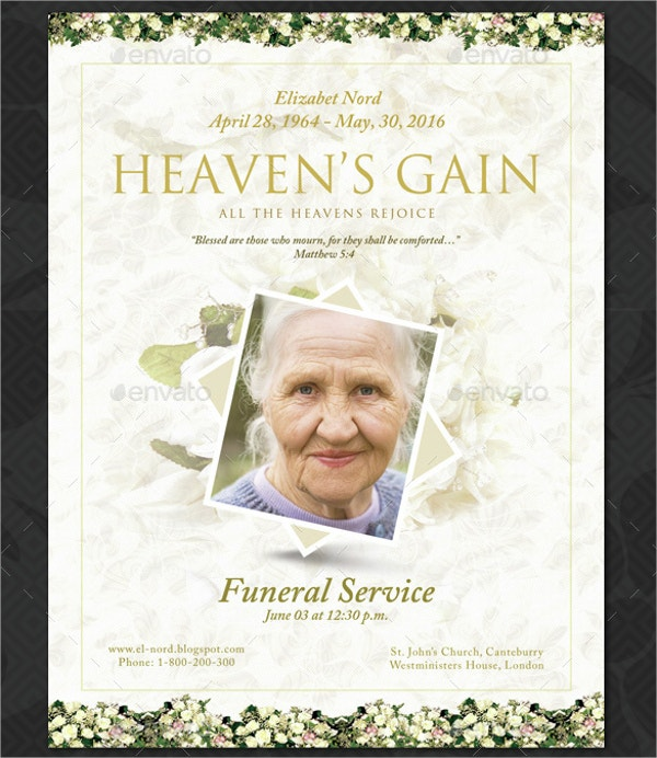 16 funeral memorial program templates free psd ai eps for Free funeral program template