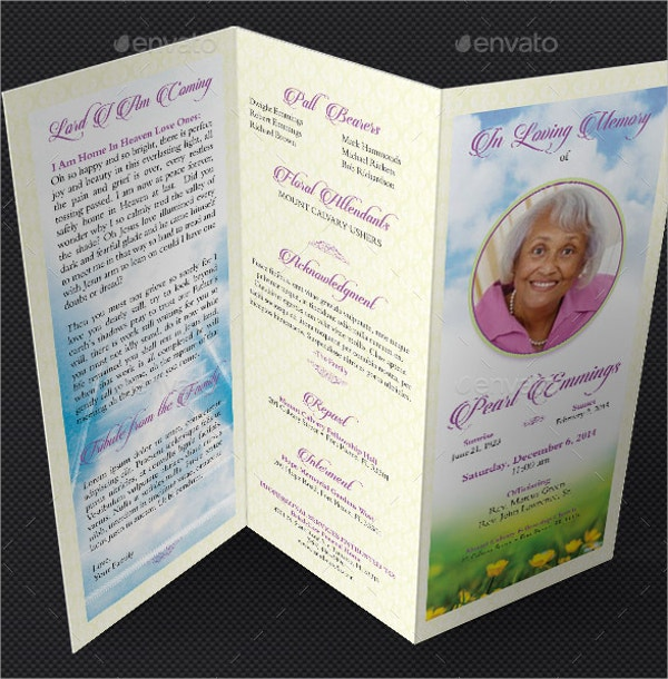 Memories Tri Fold Funeral Program Template  Free Obituary Program Template