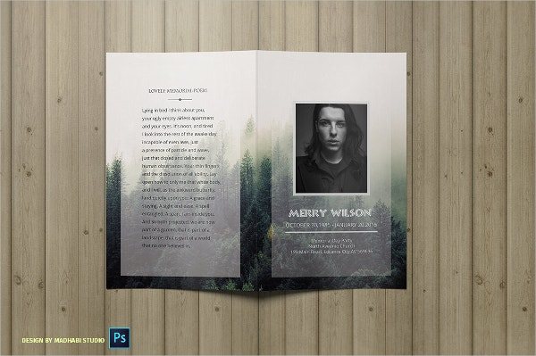 Forest Funeral Memorial Program Template