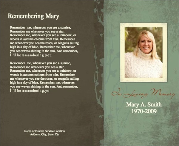 16+ Funeral Memorial Program Templates - Free Psd, Ai, Eps Format