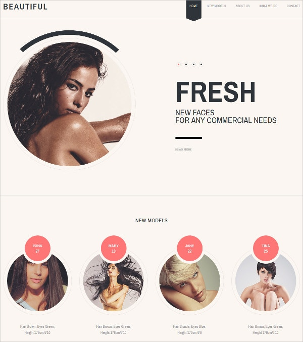 Single Page Model Agency Website Template $69