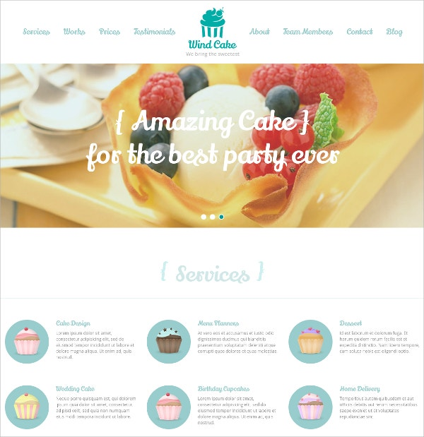 Bakery Single Page WordPress Website Theme $44