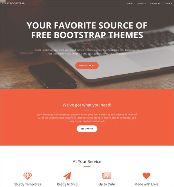 Creative & Portfolio One Page Bootstrap Website Theme