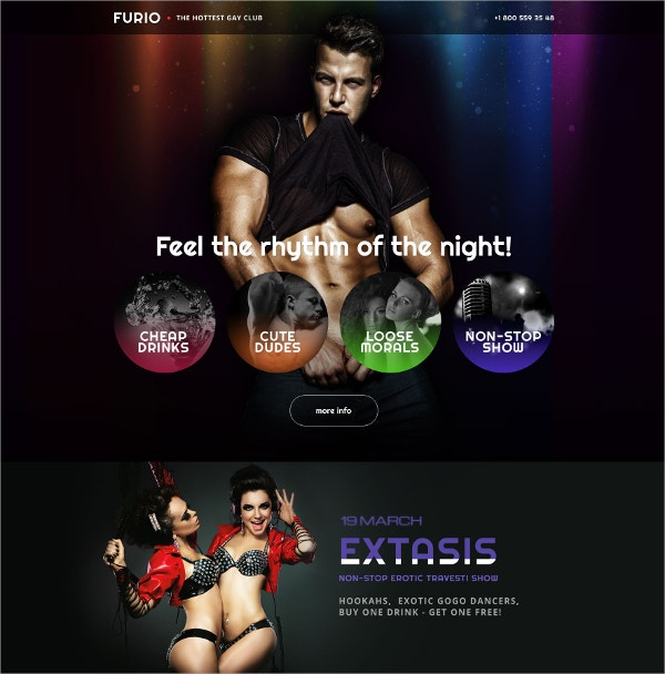 Night Club, DJ Single Page Website Template $14
