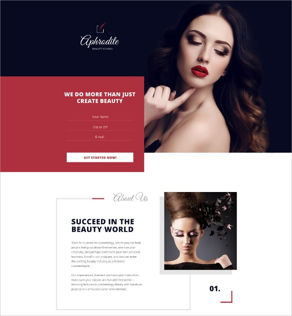 Beauty School Single Page Website Template $14