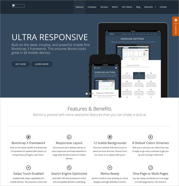 Design Portfolio Responsive Single Page Website Theme $11