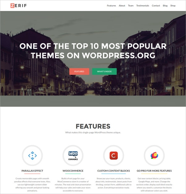 Free One Page WordPress Website Theme