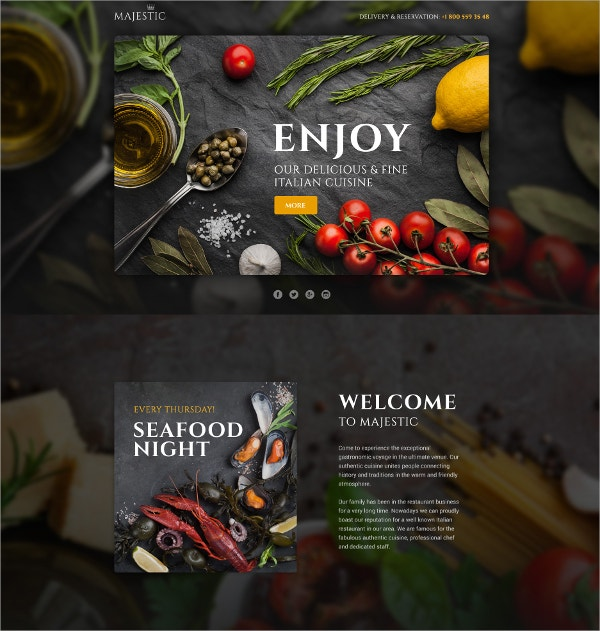 Italian Food & Restaurant Single Page Website Template $14