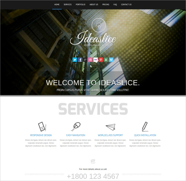Single Page Masonry Portfolio Website Template $25