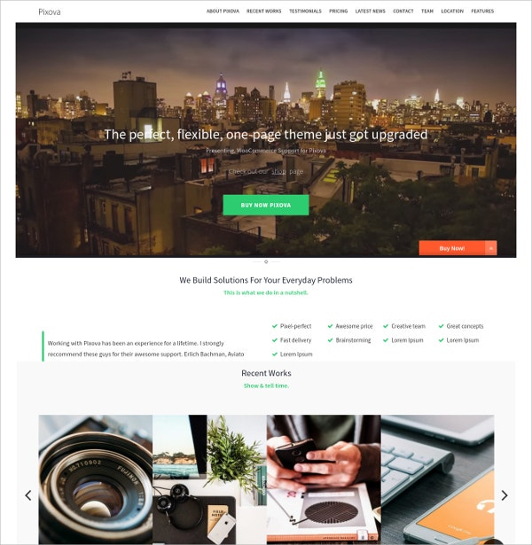 One Page Parallax WordPress Website Theme