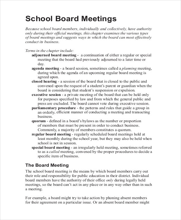 taking minutes template for a school board meeting