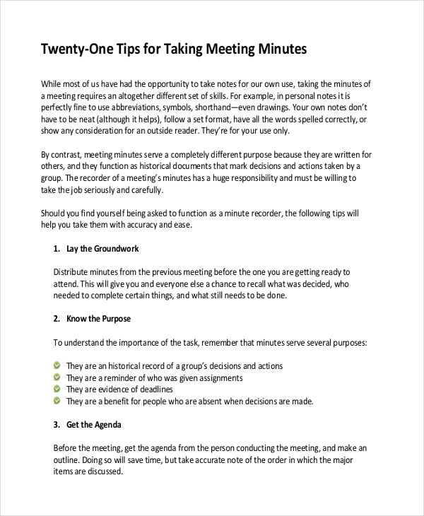 twenty one tips for taking meeting minutes1