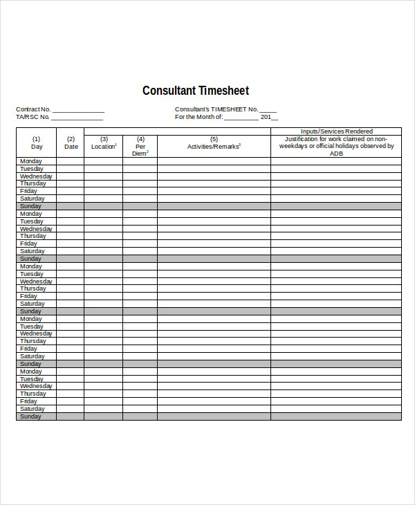 10 Sheet Templates Free Sample Example Format – Consultant Timesheet Template