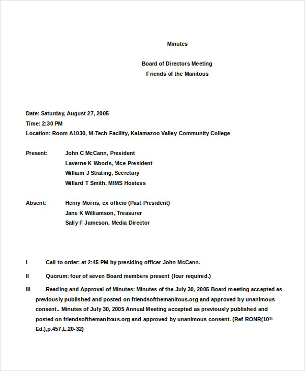 annual board of directors meeting minutes template - corporate minutes template word the paraeducator