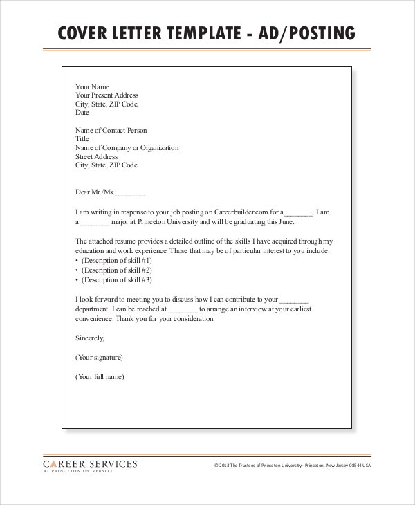 cover letter career services princeton