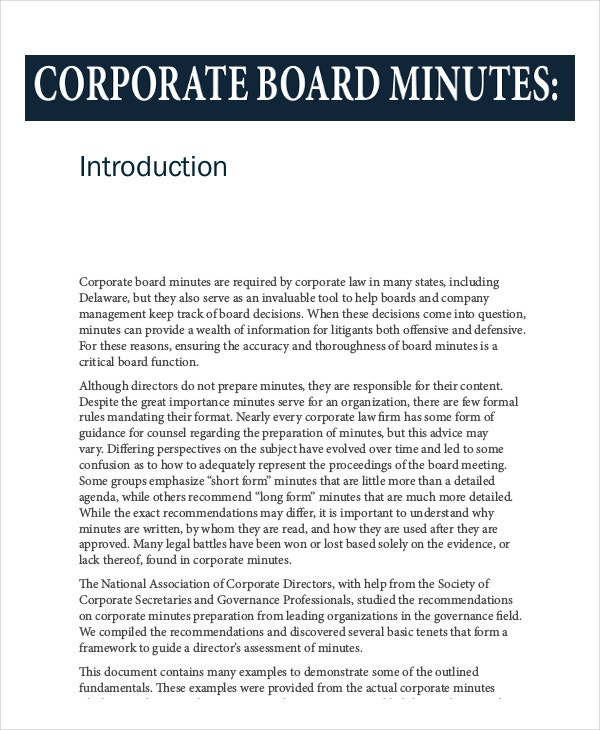 12+ Board Minutes Template – Free Sample, Example Format Download ...