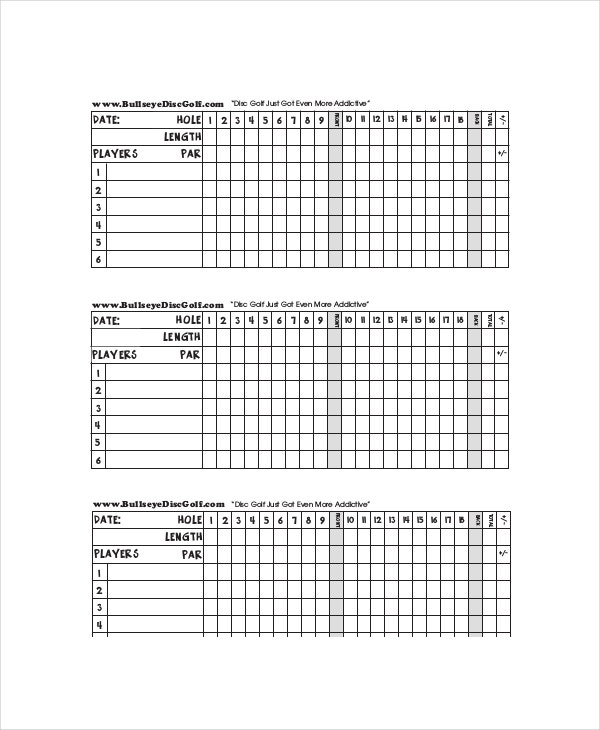 10 golf scorecard templates pdf word excel free premium