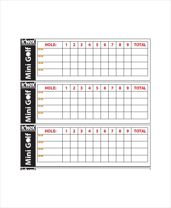 Golf Scorecard Template   Free Word Excel Pdf Documents