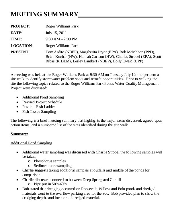 Meeting Minutes Summary Template  Meeting Minutes Format Template