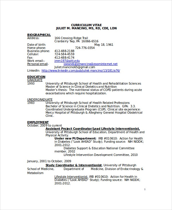 Clinical Nutritionist Resume Template