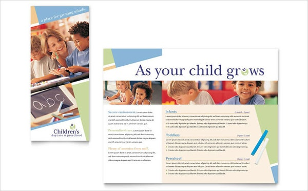 21 preschool brochure free psd ai eps format download for Daycare brochure template