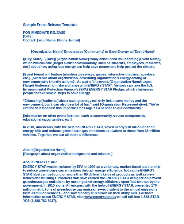 19 press release templates free sample example format for How to write a press release for an event template