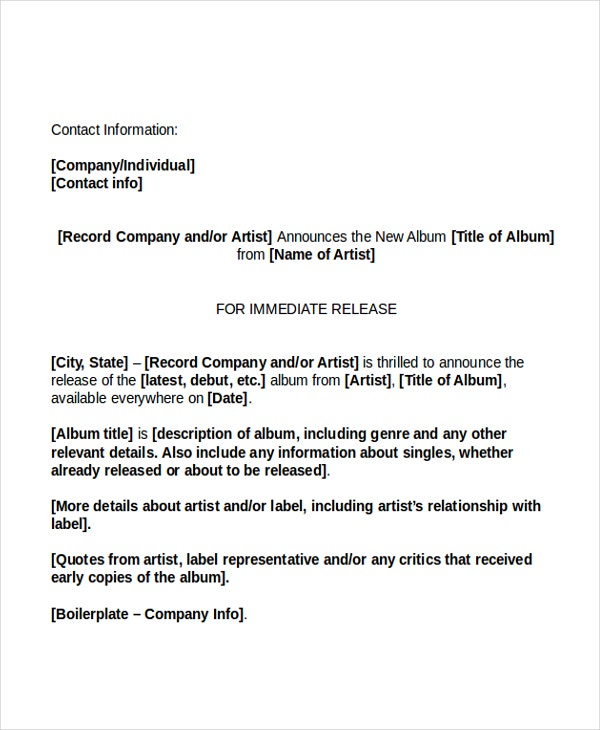 19 press release templates free sample example format for Album press release template