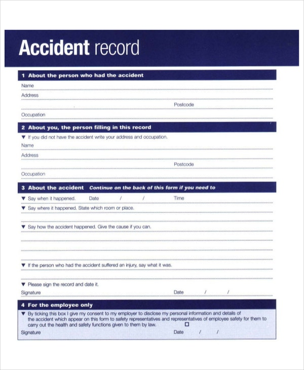 accident book record template