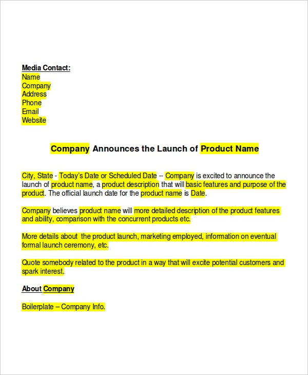 9+ Press Release Templates - Free Sample, Example, Format | Free