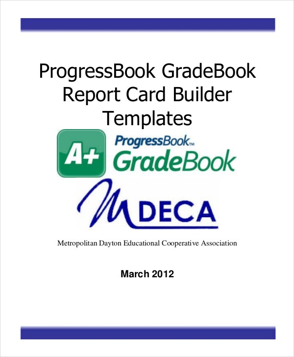 reportcard and grade book template