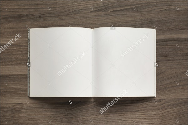 blank open square format brochure